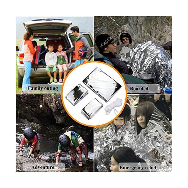3 en 1 Emergencia Supervivencia Manta para Tienda de campaña Saco de Dormir, Wady Portatil Carpa Refugio De Campamento… 5