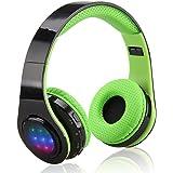 EXCELVAN Casque LED Bluetooth sans Fil Réglables avec Son Stéréo 3.5mm pour iPhone Android Smartphones PC Laptop Mp3/mp4 Tablette (Vert)