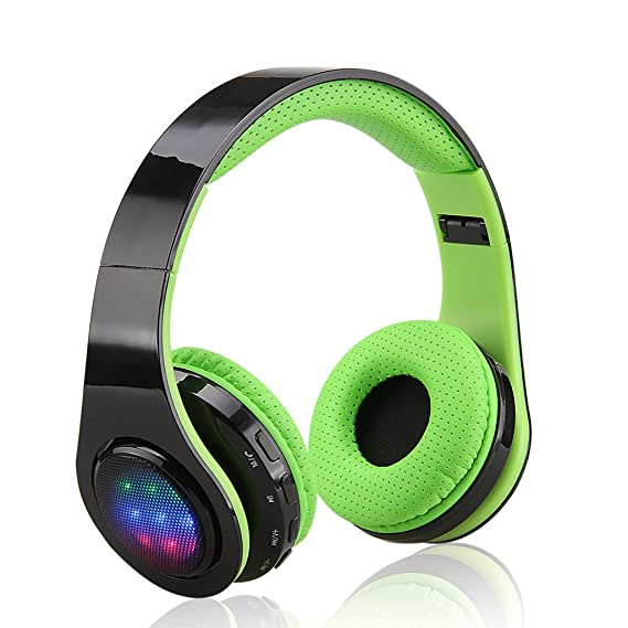 Excelvan Folding Wireless Bluetooth LED Stereo Headphones Adjustable  Headsets 8e1fcf7c3a