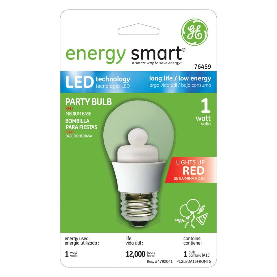 GE Lighting 76459 Energy Smart Color LED Party Light 1-Watt (15-Watt Equivalent) Red A15 Light Bulb with Medium Base, 1-Pack - Led Household Light Bulbs ...