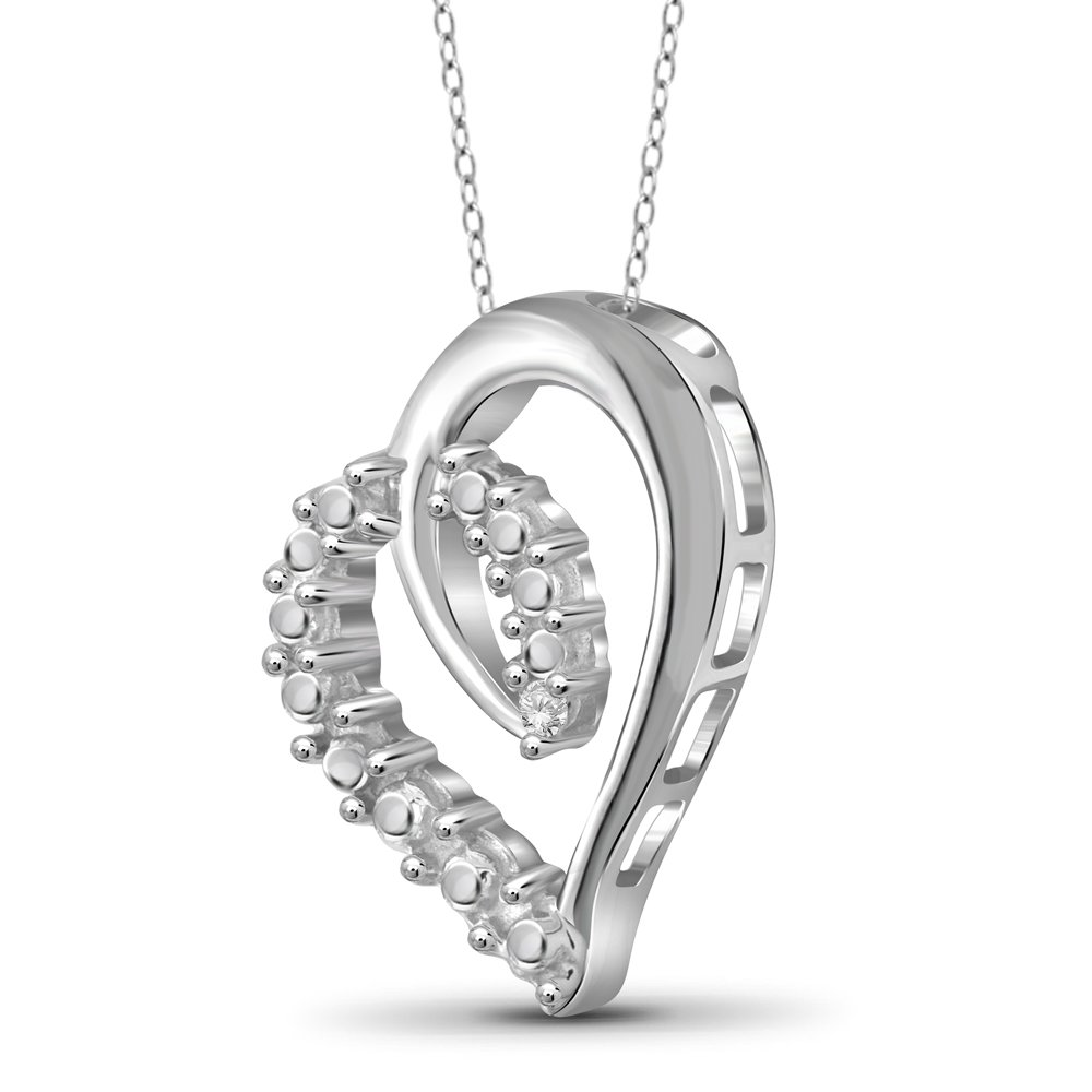 Jewelexcess White Diamond Accent Sterling Silver Heart Pendant