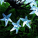Christmas Solar String Lights,WONFAST 20ft 30 LED Starfish Fairy Decorative Lighting for Indoor/Outdoor Home, Patio, Lawn, Garden, Party and Seasonal Holiday (White)