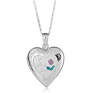 9b999e35ff4a7 Amazon.com  AVORA 925 Sterling Silver I Love You Heart Locket Necklace with  18