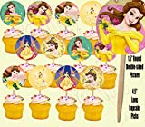 Belle Beauty and the Beast Double-Sided Cupcake Picks Cake Toppers -12 pcs