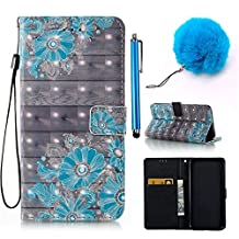 iPhone 6/6S Plus Case, Vandot 3D Wallet Case Cover Flowers Pattern PU Leather Flip Leather Case Flip Cover Style Book Stand Card Slot Cover Smart Wallet Case for iPhone 6/6S Plus 5.5 inch + 1x Pompon Ball of Hair + 1x Stylus Pen Touch, Design Blue Flower Drawings