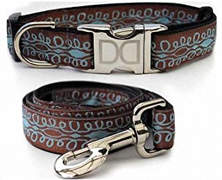 "product image for Diva-Dog 'Calligraphy Brown' Custom Medium & Large Dog 1"" Wide Dog Collar with Plain or Engraved Buckle, Matching Leash Available - M/L, XL"