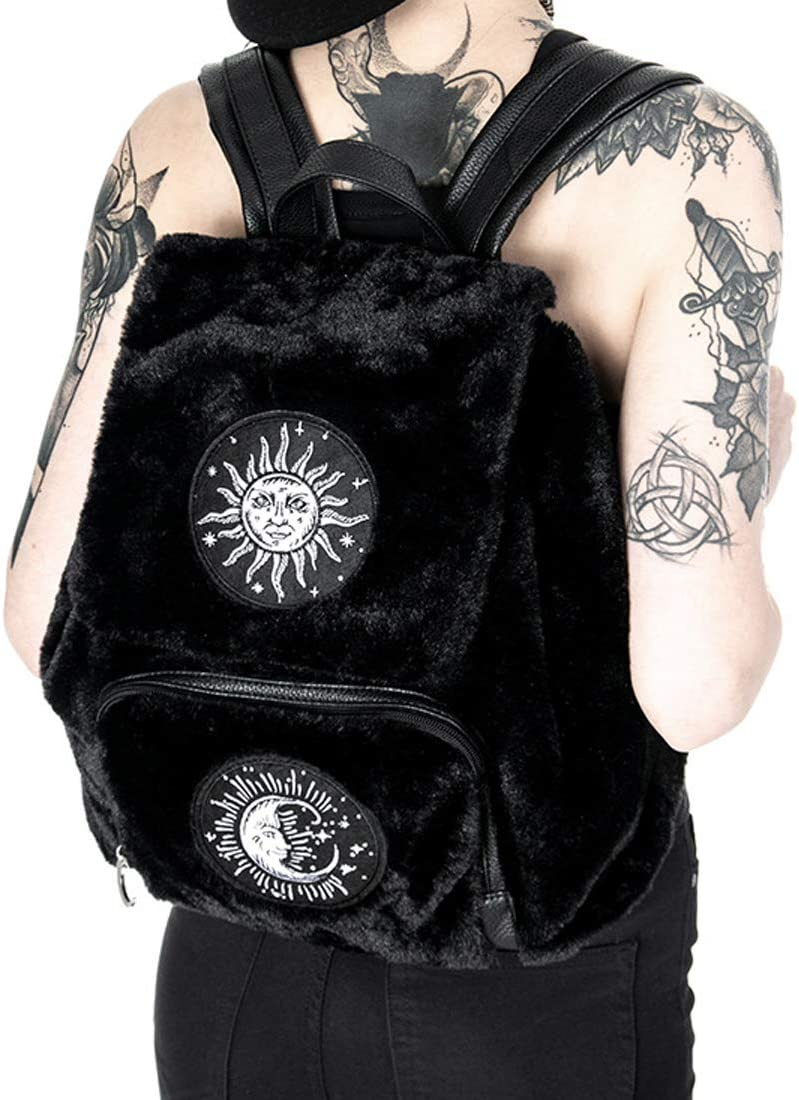 MOON /& SUN BACKPACK Black Gothic Fur Bag