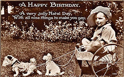 People and Children Photographed on Postcard, Old Vintage Antique Post Card A Happy Birthday Child in wagon pulled by stuffed animals 1929