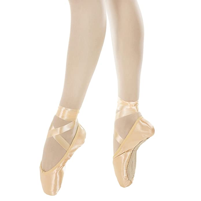 Amazon.com | Danzcue Womens Pointe Shoes Standard Hard Shank with Ribbon | Ballet & Dance