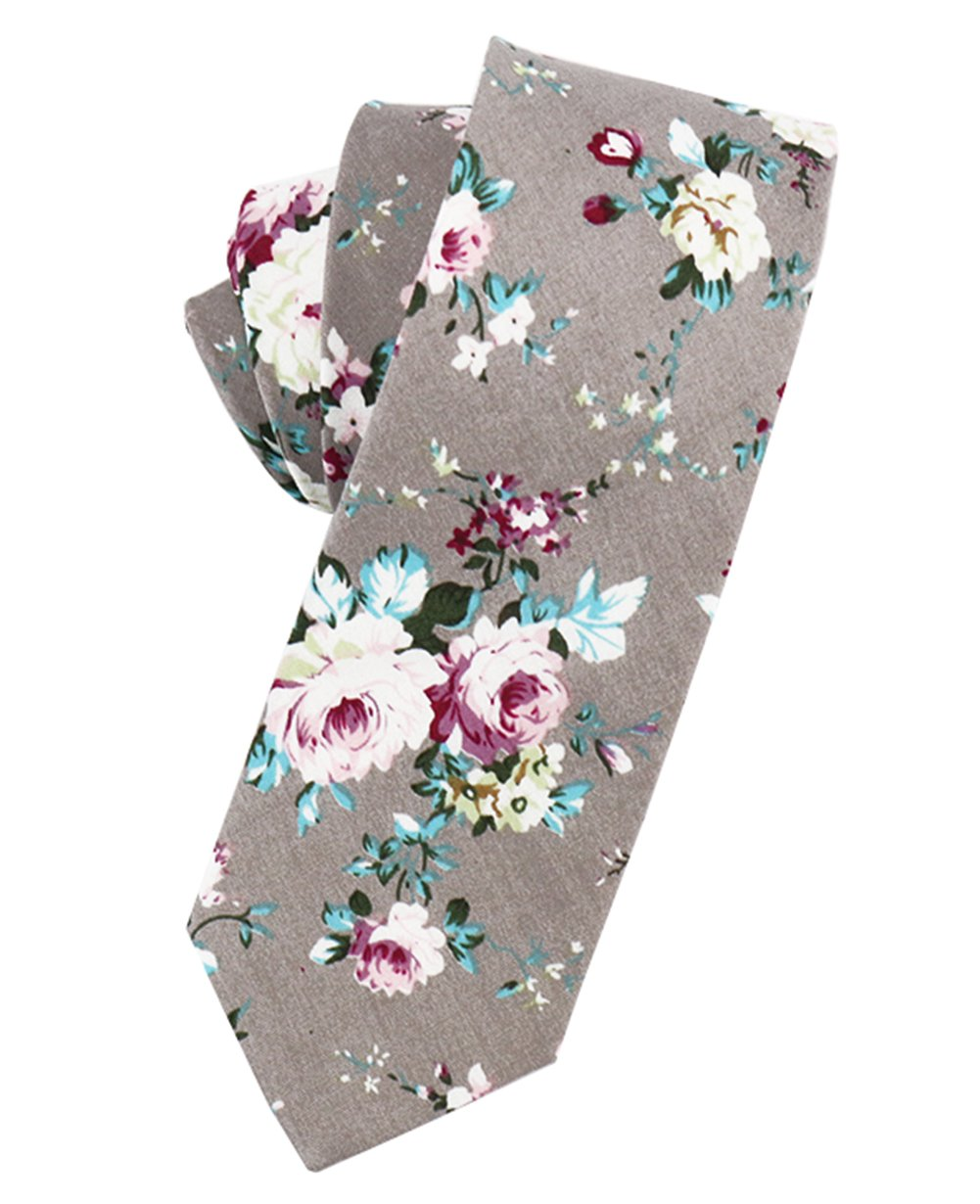 Cotton Ties for Men Neckties Set Floral Tie Skinny Printed Necktie Mantieqingway