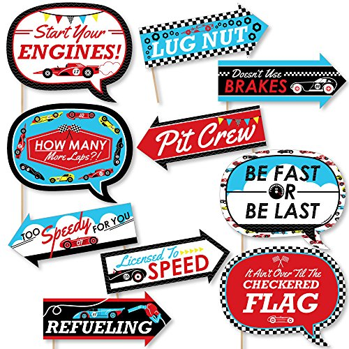 (Funny Let's Go Racing - Racecar - Baby Shower or Race Car Birthday Party Photo Booth Props Kit - 10)