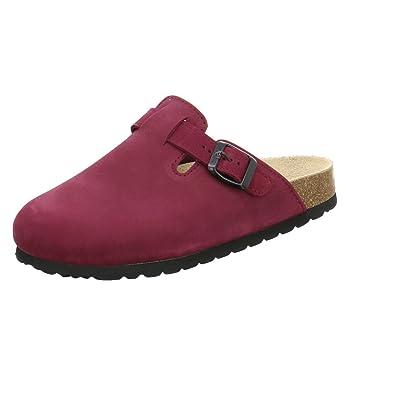 AFS-Schuhe 2900 Clogs Damen, Bequeme Hausschuhe, Echt Leder Größe 39 Rot (Kirsch)