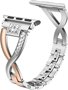 Wearlizer Bling Silver Band Compatible with iWatch Strap 38mm 40mm Womens 2-Color Matching Deep Rose Gold X-Link Bling Rhinestone Sleek Wristband Metal Dressy Bracelet Series 5 4 3 2 1
