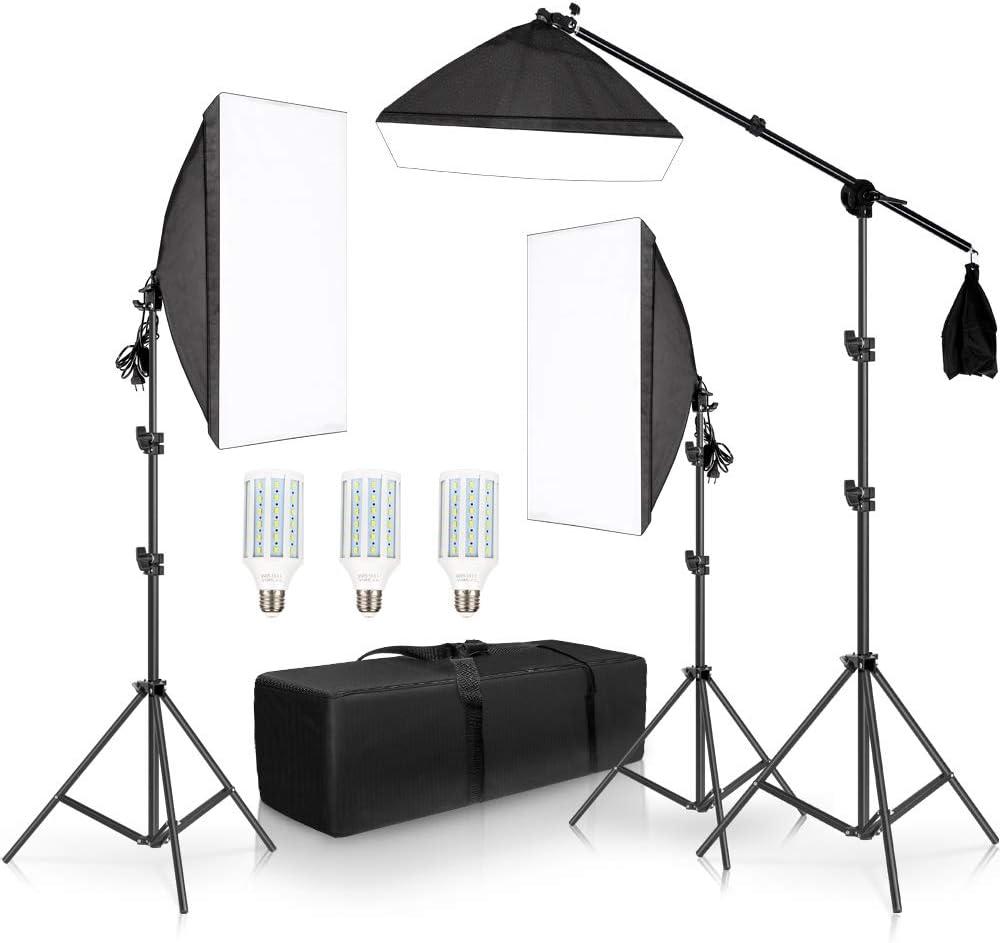 FDGBCF Professional Photo Studio Softbox Lights Kit de iluminación Continua Accesorios Equipo con 3 Piezas Softbox, Bombilla LED, Soporte para trípode: Amazon.es: Hogar