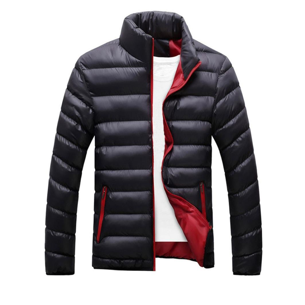 Sunward men Winter Warm Slim Fit Thick Bubble Coat Casual Jacket Parka Outerwear (M, BLack)