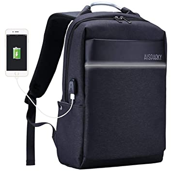Laptop Backpack, Stylish Water Resistant School bag with USB Charging Port  and Anti-Theft 9630e054ce