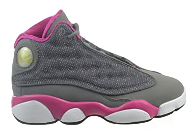 Jordan Girls 13 Retro (PS) Little Kids Fashion Shoes Cool Grey Fusion Pink 302b8914c