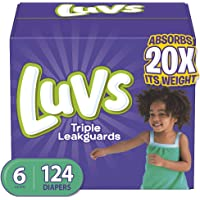Luvs (LUVSD) Diapers Size 6, 124 Count - Luvs Ultra Leakguards Disposable Baby Diapers, ONE MONTH SUPPLY (Packaging May Vary)