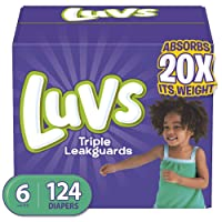 Diapers Size 6, 124 Count - Luvs Ultra Leakguards Disposable Baby Diapers, ONE MONTH...