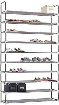 eSituro Estante para Zapatos Estantes de Pie Zapatero Armario Organizado Estantería Multiusos Zapatero de 10 Plantas Blanco SSHR0012