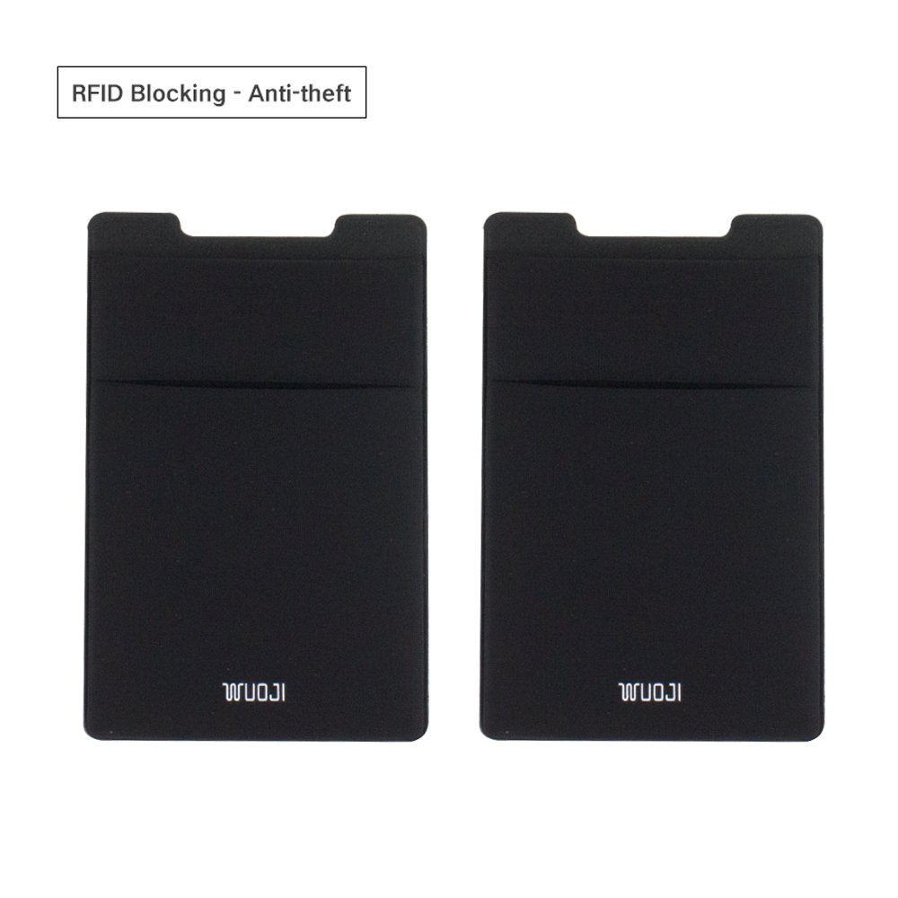 [2pc]RFID Blocking Phone Card Wallet - Double Secure Pocket - Ultra-slim Self Adhesive Credit Card Holder Card Sleeves Phone wallet sticker For All Smartphones(Black2) by WuoJI (Image #2)