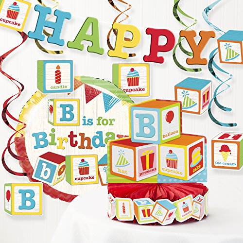 Creative Converting ABC Blocks Birthday Party Decorations Kit