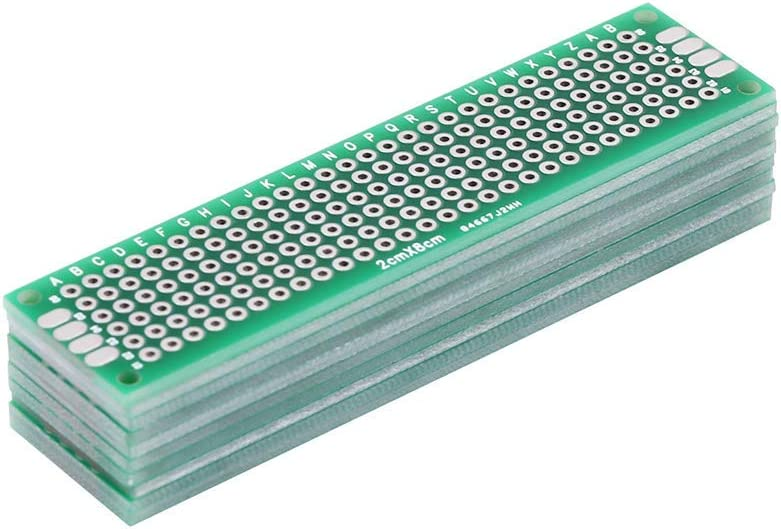 Taidacent 25 Pcs 2x8cm Thickness 1.6MM Double-sided Tin Plated Custom Breadboard Electronics PCB Test Board Development Board Experiment board