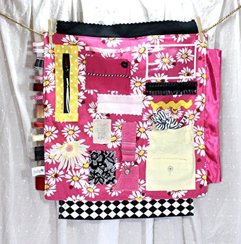 Fidgit Photo Blanket - Pink & Daisies w/Plush - Comfort Activity Blanket for Sensory   Autism   Dementia   Alzheimer's - - Fidget/Fiddle / Textures