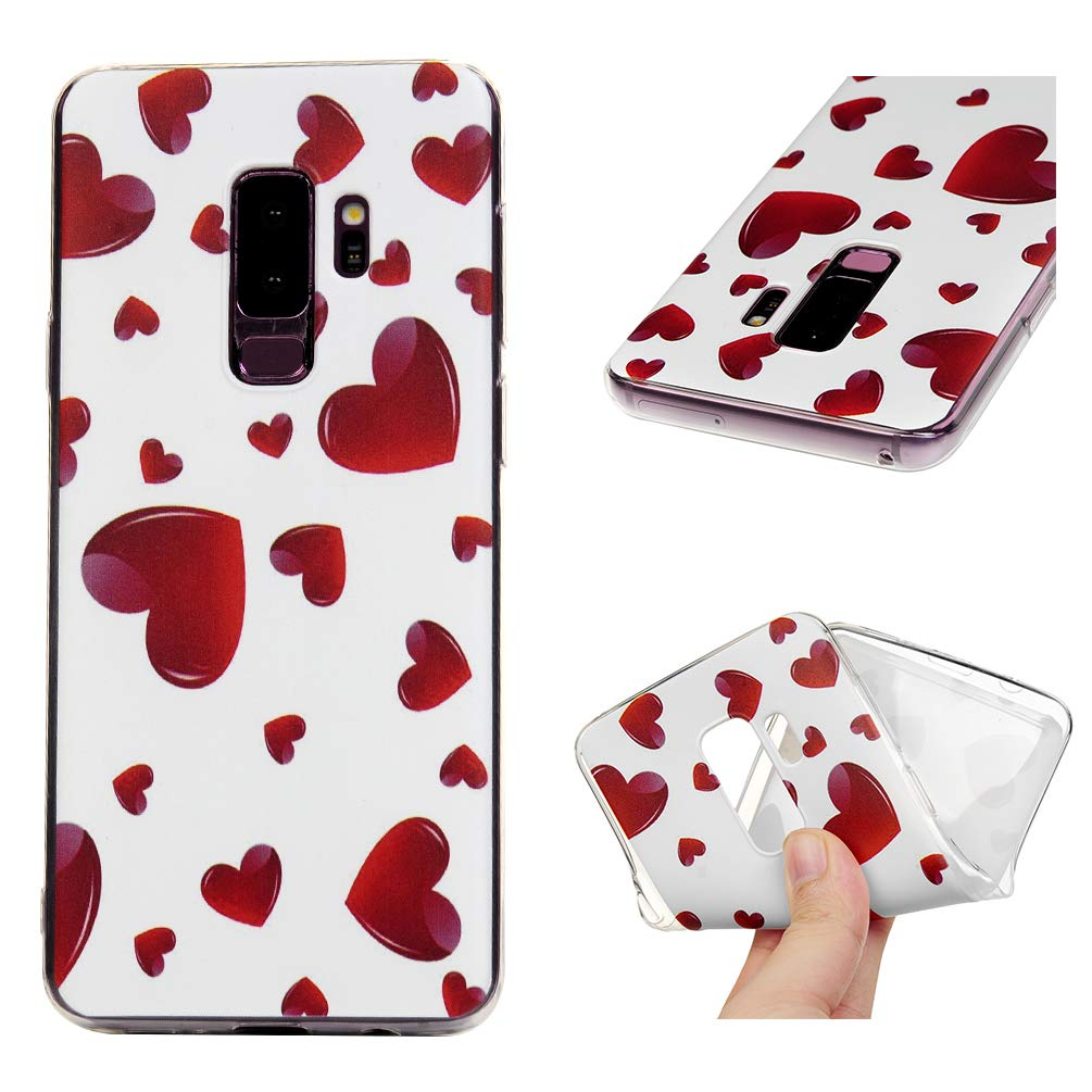 Galaxy S9 Plus Case, S9 Plus Cover Ultra Slim HD Clear & Full TPU Soft Shockproof Drop Pretective Skin Shell for Samsung Galaxy S9 Plus 2018 Version, Red Heart