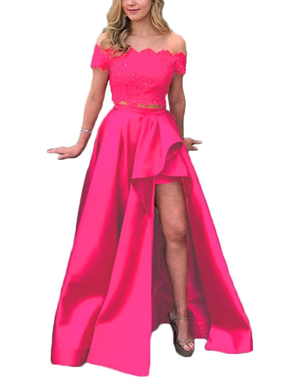 Hot Pink alilith.Z Sexy Off Shoulder 2 Piece Prom Dresses High Low Beaded Lace Formal Evening Party Dresses Women Long