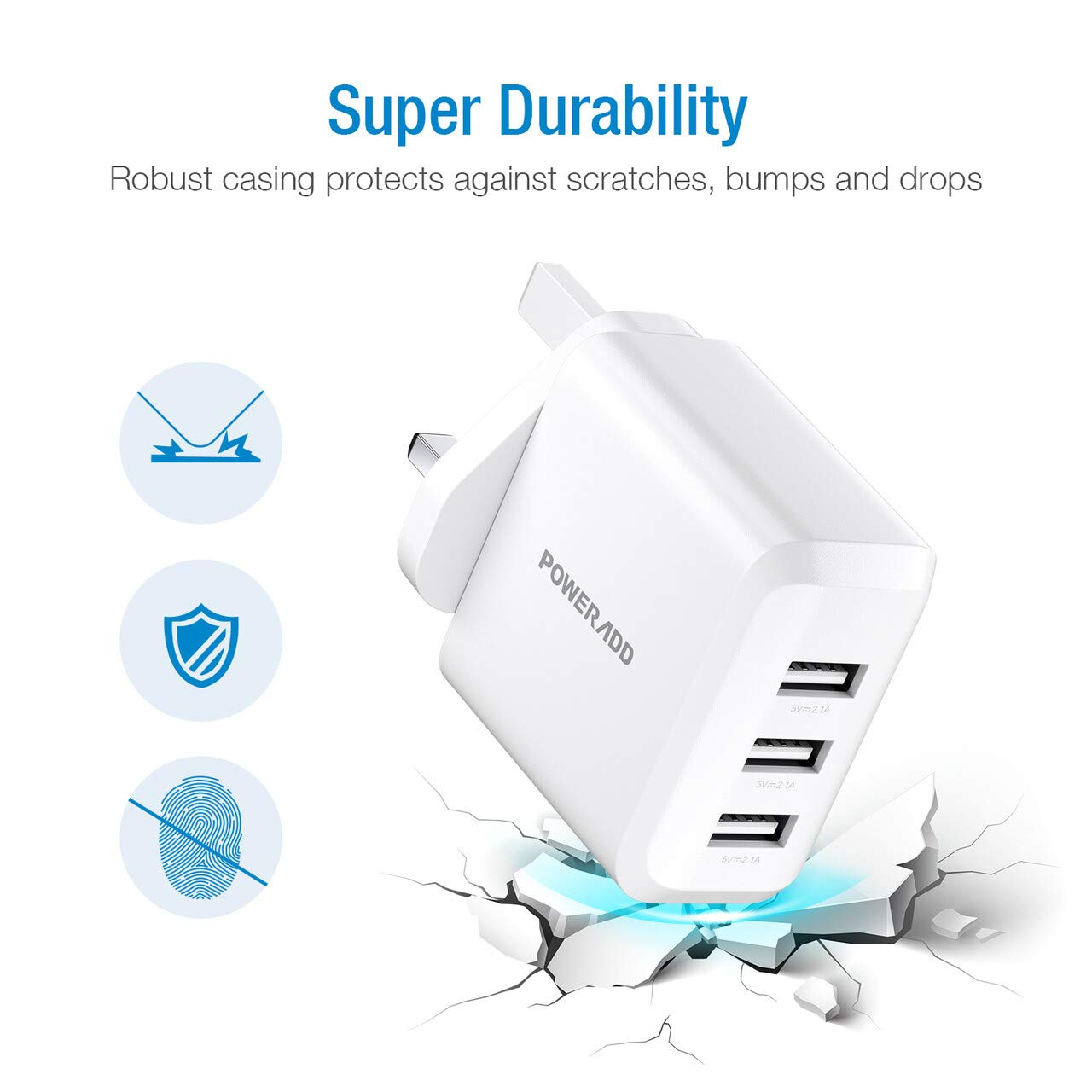Poweradd 30W Main Charger, 3-Port USB Wall Charger, USB Plug Chargers Compatible with Apple iPhone 11 Pro/XS Max/XR/X/8/8 Plus, Galaxy, iPad and More - White