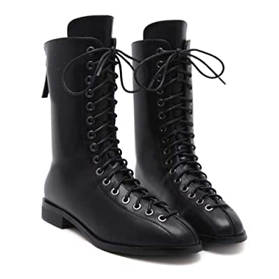 2.5cm Chunkly Heel Tall Bootie Martin Bottes Femmes Handsome Pointed Toe Cross Straps Zipper Locomotive Bottes Punk Chaussures Casual Chaussures Eu Taille 35-40