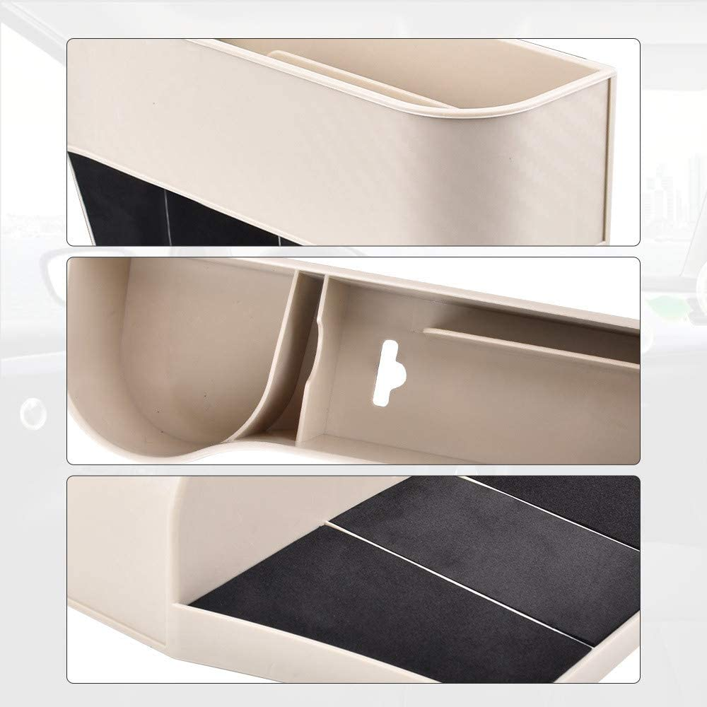 A Pair Premium Storage Box Multifunctional Car Seat Organizer Driver and Passenger Side Car Seat Gap Organizer Front Seat Gap Filler Beige