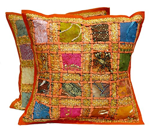 2 Orange Embroidery Sequin Patchwork Indian Sari Throw Pillow Cushion Covers (Toss Sari Pillow Covers Cushion)