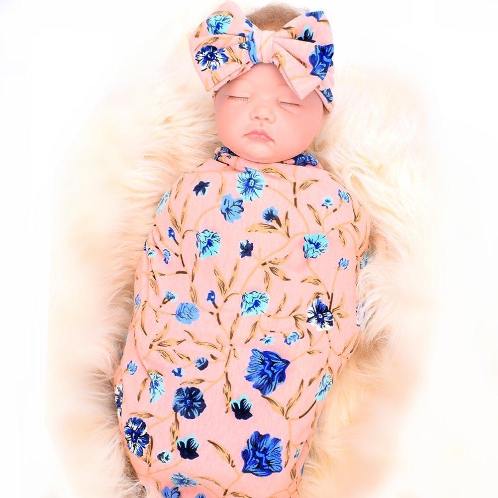 Galabloomer Newborn Receiving Blanket Headband Set Flower Print Baby Swaddle Receiving Blankets SW001 pink