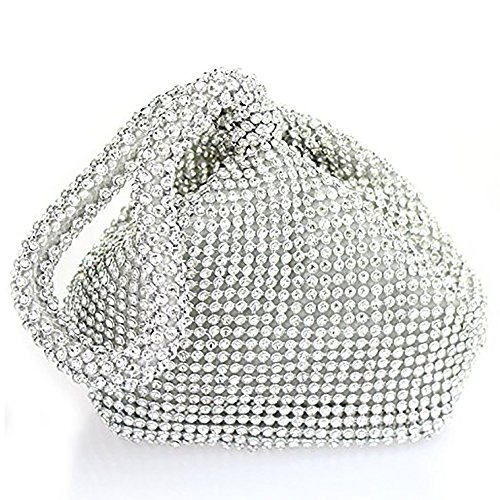 Bag Crystals Silver Pouch Silver Girl Clutch Wedding Handbag Diamonds Gold Wocharm Purse Prom Lady Party Evening Womens cnagqW86Y
