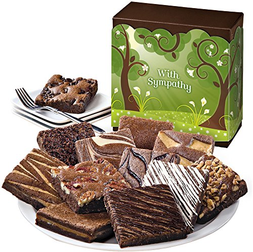 Fairytale Brownies Sympathy Dozen Gourmet Food Gift Basket Chocolate Box - 3 Inch Square Full-Size Brownies - 12 Pieces