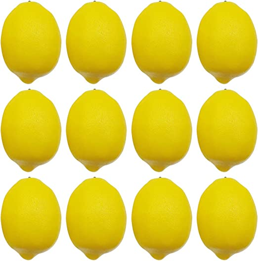 12 Large Lemons Decorative Plastic Artificial Fruit House Party kitchen decor
