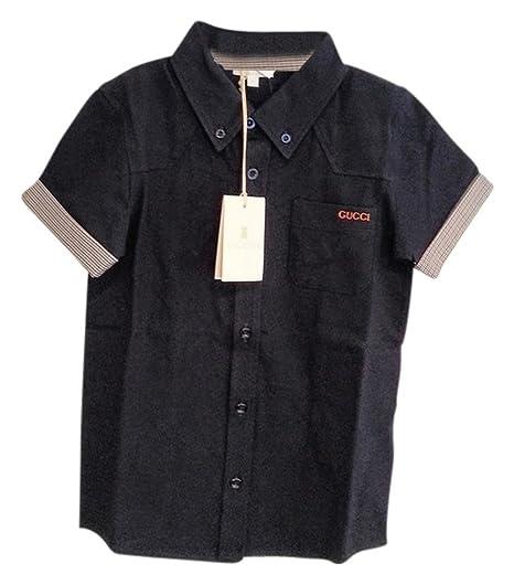 Amazon.com  Gucci Boys Collar Polo T-Shirt Navy Blue Short Sleeve ... f142b899861