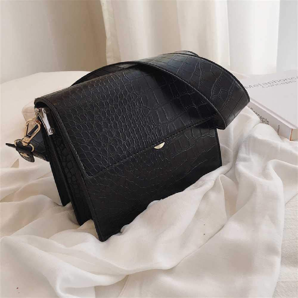 wangtao Frauen Flap Square Bag Hochwertige Leder Crocodile Schulter Crossbody Bag