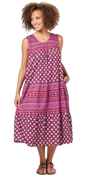 La Cera Plus Size Cotton Sleeveless Dress In Mesa Plum 3x26 28