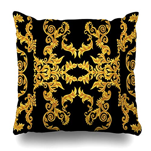 Ahawoso Throw Pillow Cover Square 16x16 Inches Ornate Royal Baroque Versace Pattern Abstract Antique Black Circle Damask Ornamental Cushion Case Home Decor Pillowcase (Versace X Gucci)