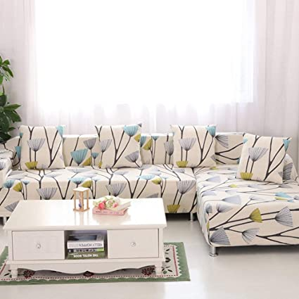 WOMACO L Shape Sofa Covers Sectional Sofa Cover 2 pcs Stretch Sofa Slipcovers for L-Shape Couch (XXL L-Shape Sofa, Dandelion)