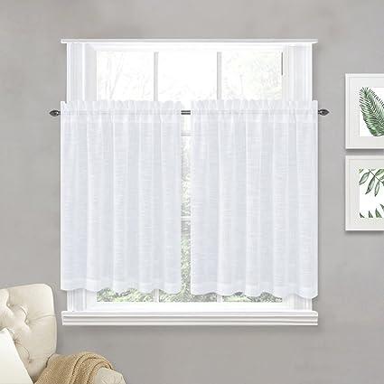 NICETOWN Linen Textured Translucent Sheer Curtains