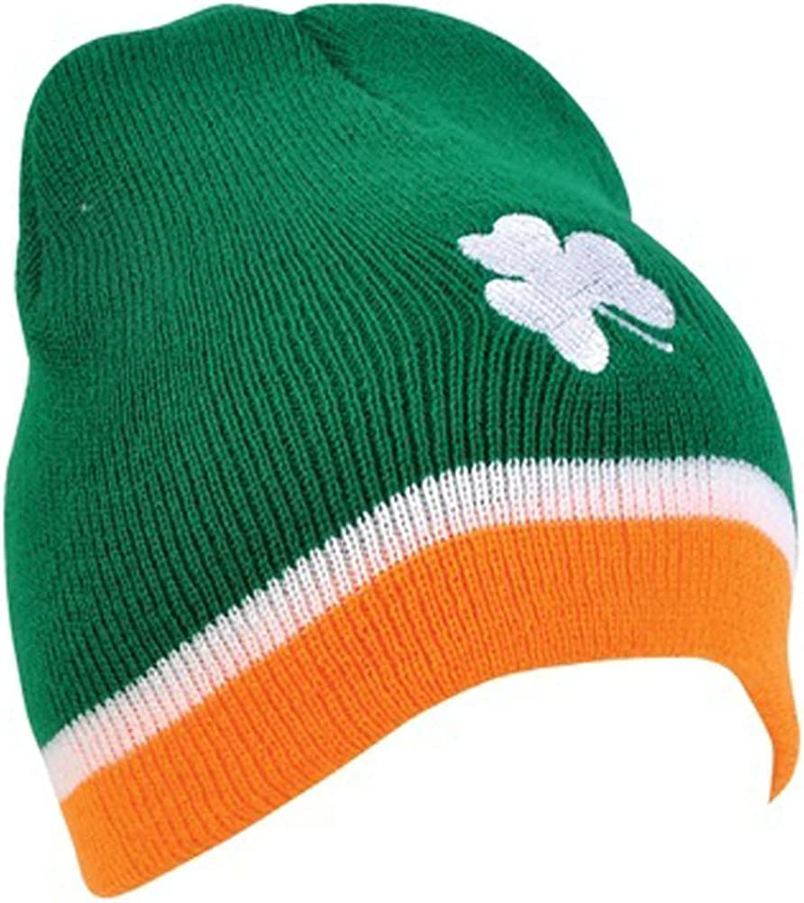 Men Women Four Leaf Clover St Patricks Day Shamrock Soft Knit Beanie Caps
