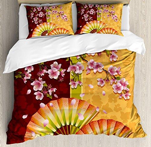 Ambesonne Floral Duvet Cover Set King Size, Sakura Blooms wi