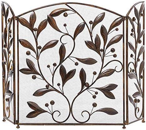暖炉用品・アクセサリ 3パネル火画面装飾メッシュ、赤ちゃんの安全証明固体金属暖炉フェンス、葉の渦巻きデザインスパークガード、50×30inch (Color : Antique copper)