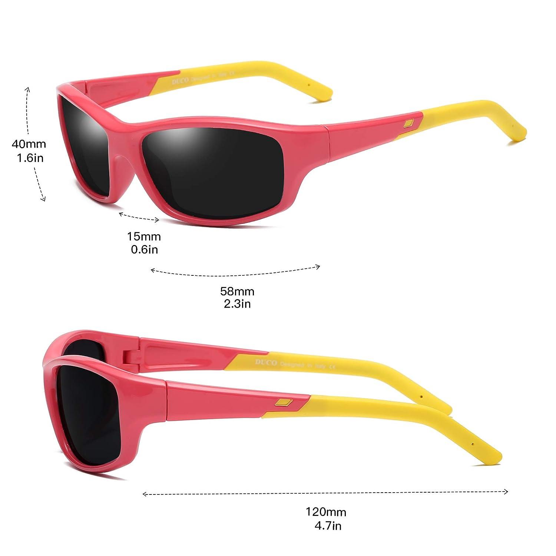 a60dc78c08 Duco Lunettes de soleil polarisées pour enfants Monture en caoutchouc  flexible Lunettes de sport mixte Accessoires Vêtements