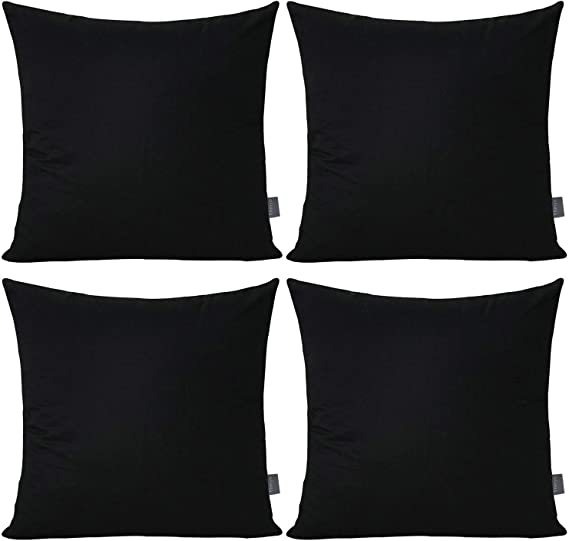4 Pack 100 Cotton Comfortable Solid Decorative Throw Pillow Case Square Cushion Cover Pillowcase Cover Only No Insert 18x18 Inch 45x45cm Black Home Kitchen Amazon Com