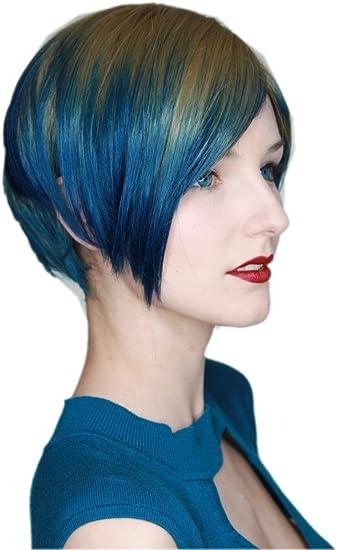Prettyland Tie Dye liso BoB Corte peluca de pelo corto Color degradado Ombre Peacock Verde Verde Marrón C717
